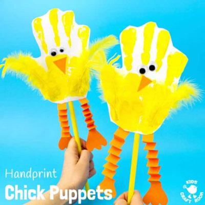 DIY Handprint chick paper puppet - fun Easter craft for kids