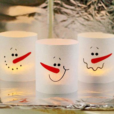 Paper snowman luminaries in 3 minutes