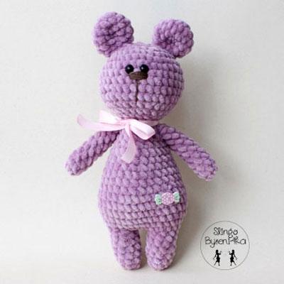 Soft purple amigurumi bear (free crochet pattern)
