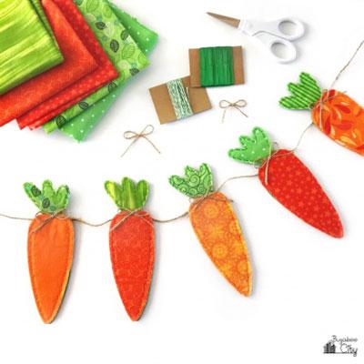 Easy DIY fabric carrot banner - Easter decor