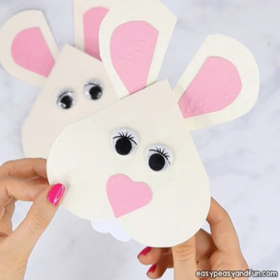 DIY Heart Easter bunny  card - fun Easter craft for kids