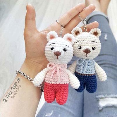 Little bear amigurumi keychain (free crochet pattern)