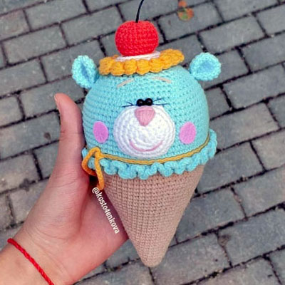 Amigurumi ice cream bear (free crochet pattern)