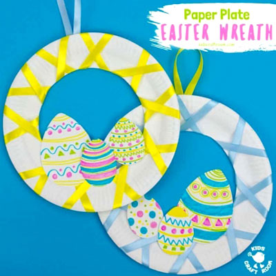 DIY Paper plate Easter egg wreath - fun Easter craft for kids