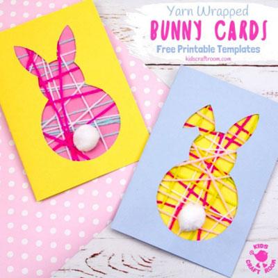DIY Yarn bunny Easter card - fun Easter craft for kids