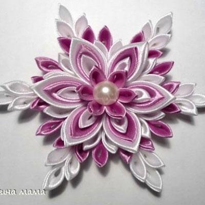 Beautiful snowflake from silk ribbons