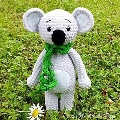 Crochet Valentine Bear, Panda and Koala Pattern - Grace and Yarn | 400x400