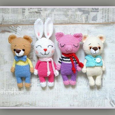Littles - amigurumi pig, cat, bear and bunny (free crochet patterns)