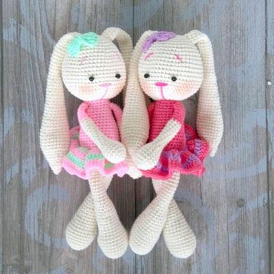 Pretty Bunny amigurumi in pink dress   Easter crochet patterns ...   400x400