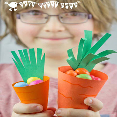 Easy DIY paper carrot easter baskets (free printable template)