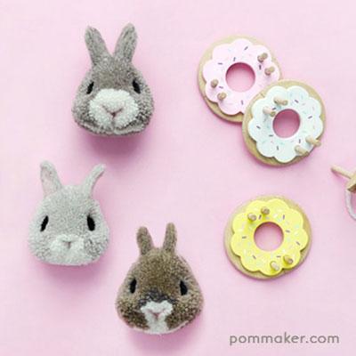 DIY Pompom bunny ( step-by-step pompom animal making tutorial )