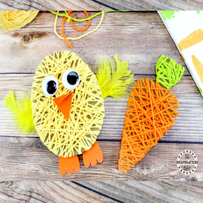 DIY Yarn wrapped chick and carrot - fun Easter craft for kids