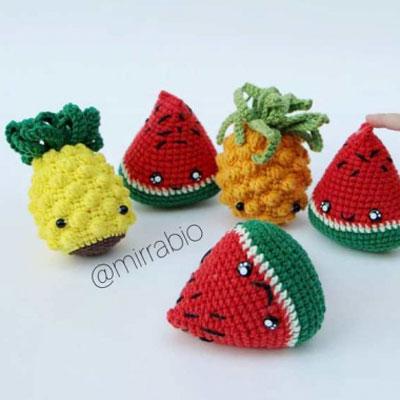 Amigurumi watermelon & pineapple (free crochet patterns & video tutorials)