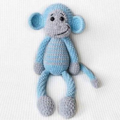 Soft blue plush amigurumi monkey (free crochet pattern)