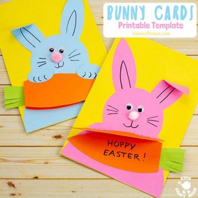 DIY Carrot nibbling Easter bunny card - adorable Easter card idea