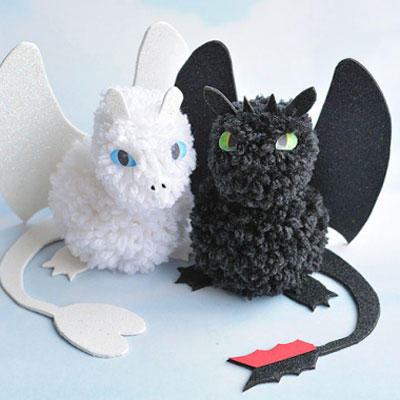 Pompon Night fury & Light fury - How to train your dragon 3 craft