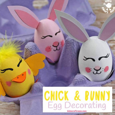 DIY Bunny and chick easter egg - Easter egg painting idea