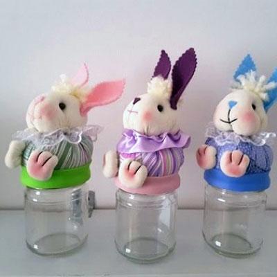 DIY Fabric mason jar bunny - Easter gift idea