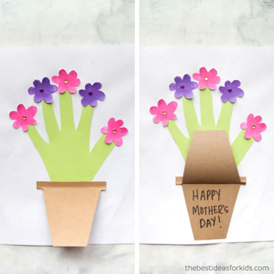 DIY Handprint flower Mother's day card