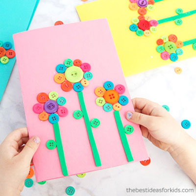 DIY Button flower Mother's day card