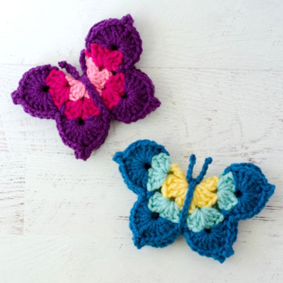 Quick and easy crochet butterfly (free crochet pattern)