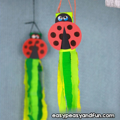 DIY Toilet paper roll ladybug windsock - fun spring craft for kids