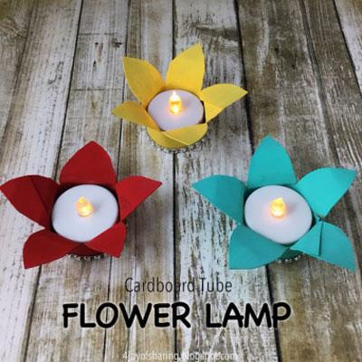 DIY Toilet paper tube flower tea candle holder - spring craft