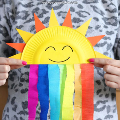 DIY Paper plate sun and rainbow craft - fun summer craft for kids