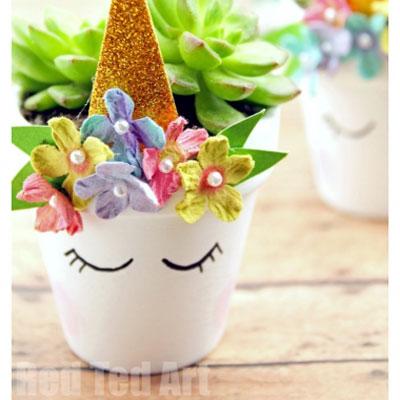 DIY Unicorn planter - unicorn craft for kids