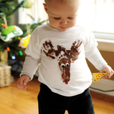 Rudolph reindeer t-shirt with hand and footprints