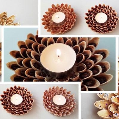 DIY Pistachio shell tea candle holder - thrifty home decor