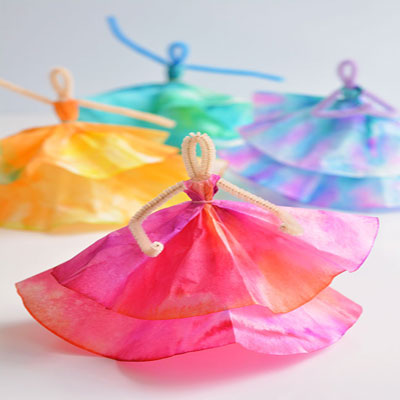 DIY Coffee filter dancer - washable marker craft for kids