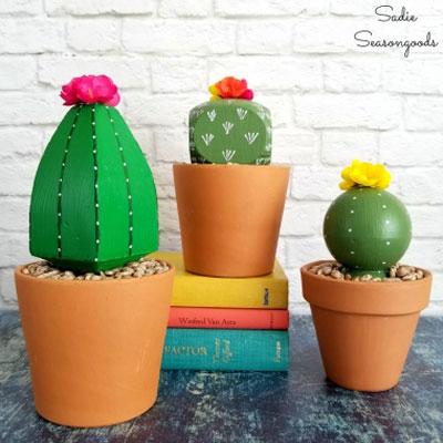 DIY Deck post cap faux cactus - summer decor (upcycling craft)