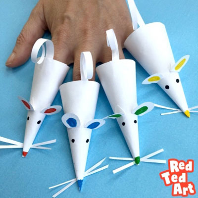 Easy DIY paper mouse finger puppets - fun craft for kids