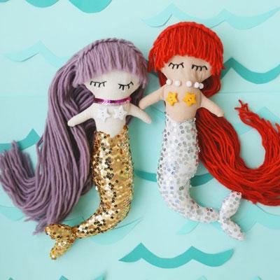 DIY Mermaid plush doll (free sewing pattern & tutorial)