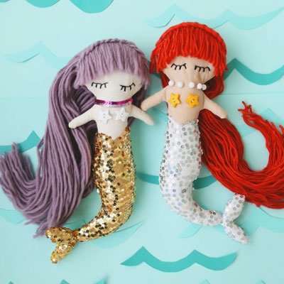DIY Mermaid plush doll (free sewing pattern & tutorial)