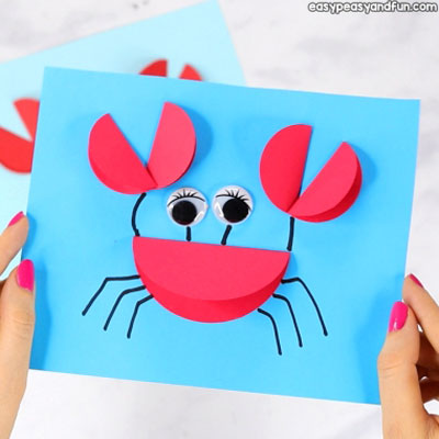 Easy DIY Paper crab card - fun summer craft for kids