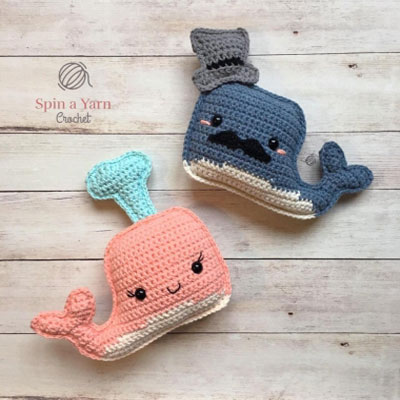 Mr. & Mrs. Whale - crochet whales (free crochet patterns)