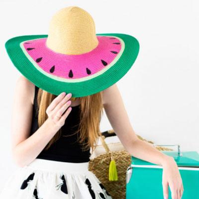 DIY painted watermelon summer hat
