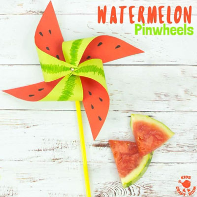 DIY Watermelon pinwheel - fun summer craft for kids