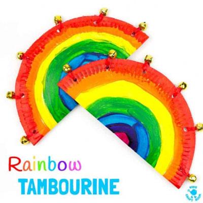 DIY Rainbow paper plate tambourine -  homemade musical instrument