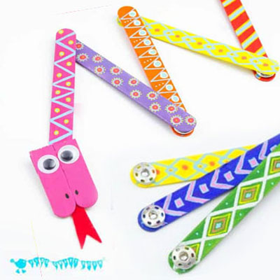DIY Mix'n match articulated snake educational toy - popsickle stick craft for kids