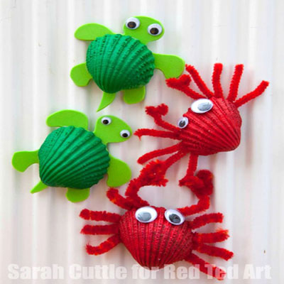 DIY Seashell crab & seashell turtle - fun seashell craft for kids