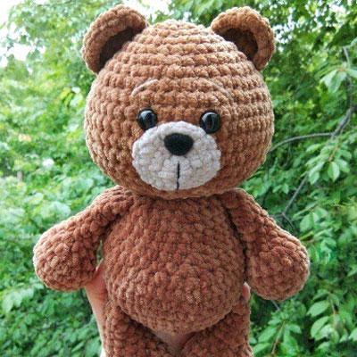 Cuddly brown amigurumi bear (free amigurumi pattern)