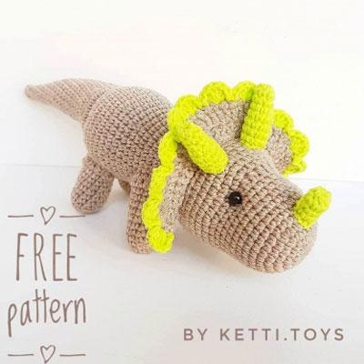 Cute amigurumi triceratops (amigurumi dinosaur) - free amigurumi pattern