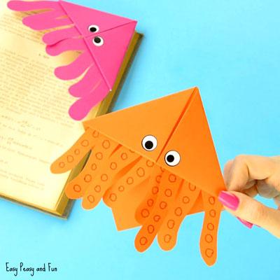DIY Octopus corner bookmarks - fun summer craft for kids (origami)