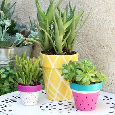 Painted summer fruit planters - easy DIY summer decor
