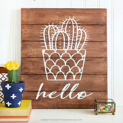 Rustic DIY cactus sign - boho summer decor (free template)