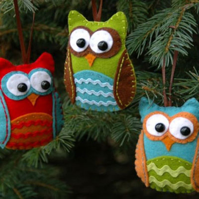 Felt owl christmas tree ornaments