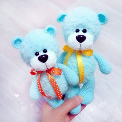 Little fluffy blue amigurumi bear (free amigurumi pattern)